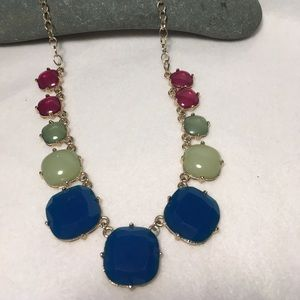Blue Green Pink Gold Necklace
